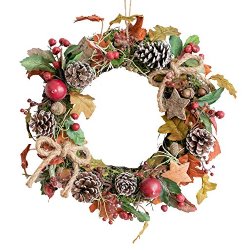 Christmas Decorations for het Huis, 11,4 Inch Fall Decro Garland Kroon van Kerstmis for Voordeur, Bessen En Pine Kegels