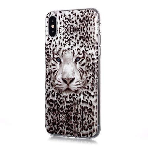 Fatcatparadise Cover per iPhone XS X (5,8 Pollice) [con Pellicola in Vetro Temperato], [Chiaro di Luna] TPU Morbido Silicone Bumper Cover [Ultra Sottile] Protettiva Case(Tigre Leopardo)