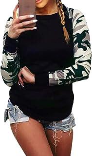 Macondoo Women Long-Sleeve Slim Fit Camouflage Stitching Tee T-Shirts