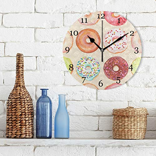 KUWT Cute Donuts Wall Clock Silent Non-Ticking, Colorful 9.5 Inch Round Wall Clock Battery Operated Donuts Clock Decor for Home Wall Kitchen Bedroom Living Room Bathroom Office Classroom Patio