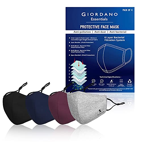 Giordano Cotton Anti Pollution 6 Layer Reuseable Face Mask (Black, Blue, Maroon & Grey, Without Valve, Pack of 4) for Unisex