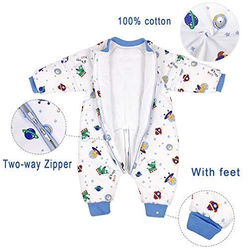 Bebé Saco de Dormir para Niños Niñas Manga Separable con Piernas Algodón Pijama Cremallera Mamelucos Mono Invierno Traje de dormir 1.5-3 años,Espacio(3.5Tog)
