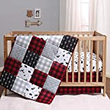 The Peanutshell Buffalo Plaid Crib Bedding Set for Boys or Girls | Red, Black, and Grey | 3 Pieces - Crib Quilt, Fitted Sheet, Crib Skirt