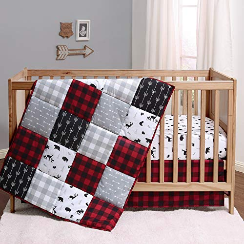 The Peanutshell Buffalo Plaid Crib Bedding Set for Boys or Girls | Woodland Theme in Red, Black, and Grey | 3 Pieces - Crib Quilt, Fitted Sheet, Crib Skirt