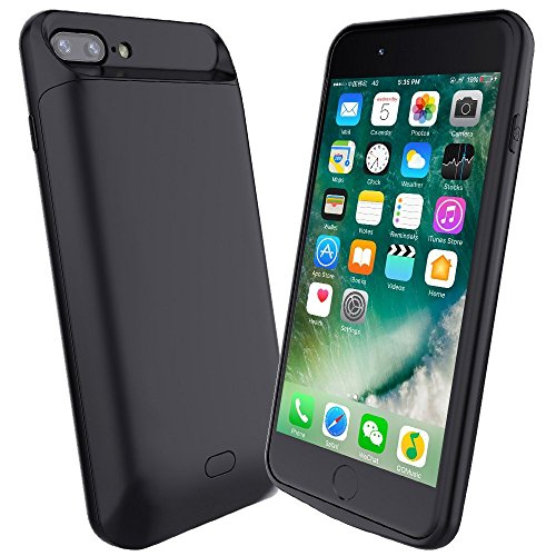 ALCLAP iPhone 7 Plus/8 Plus Battery Charger Case, 7200mAh Portable Protective Charging Case Extended Case Charger for iPhone 7 Plus/8 Plus(5.5 inch) Rechargeable External Battery Pack Juice- Black