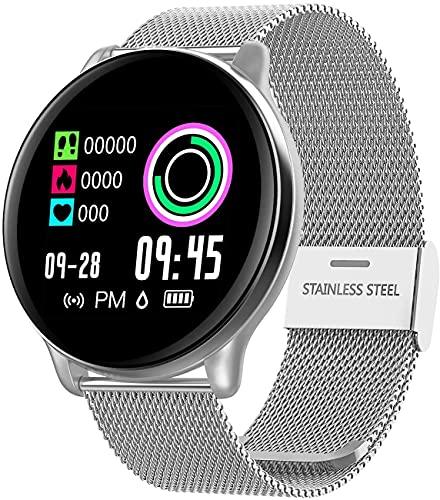Relógio Inteligente SmartWatch Monitor Cardíaco Monitor Sono Pressão Sangue iOS Android,prata/Faixa de aço inox