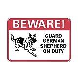 Beware! German Shepherd On Duty Pet Animal Sign Vinyl Sticker Decal 8'