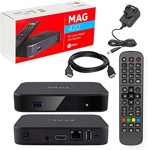 MAG 322 Original Infomir IPTV SET TOP BOX Reproductor multimedia Internet TV IP Receptor (HEVC H.256) sucesor de MAG 254 con cable HDMI y enchufe británico