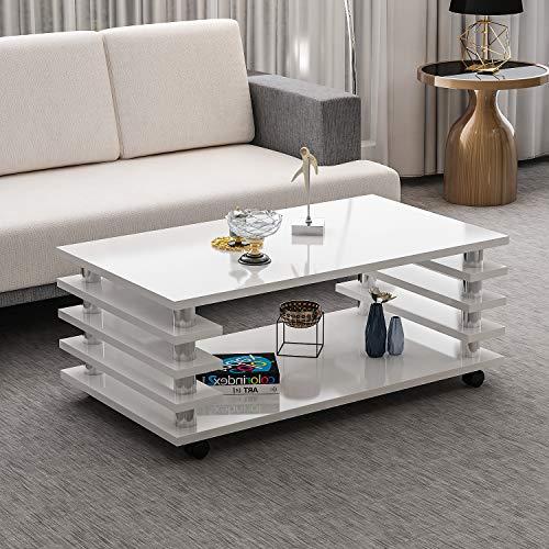 Couchtisch Zoe Weiß Hochglanz mit Rollen 115 x 65 cm Tisch Wohnzimmertisch Sofatisch