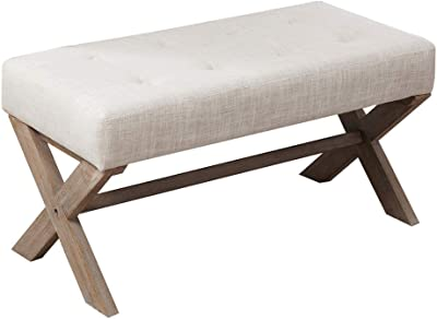 Amazoncom Upholstered Bench 36 Inch Goat Fur Accent Furniture New