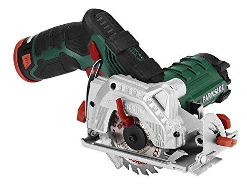Parkside Sega circolare a batteria Led Phksa 12 A1, 12 V, agli ioni di litio, diametro 85 mm, 2 Ah, profondità di taglio e angolo di taglio regolabili in continuo, aspirazione della polvere