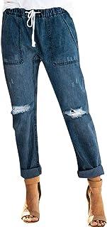2a7b649891627 FNKDOR Jeans Femmes Tirer sur Affligé Denim Joggeurs Élastique Taille  Étendue Un Pantalon Femme Slim Jeans