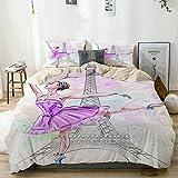 MANISENG Bettwäsche-Set Mikrofaser,Beige,Schöne Ballerina, die auf Eiffelturm-Hintergrund, Mädchen-Ballett-Tänzerin aufwirft und Tanzt,1 Bettbezug 135x200 + 2 Kopfkissenbezug