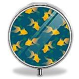 Personalized Design Round Pill Box Decorative Metal Medicine Vitamin Organizer Unique Gift (Animal Goldfish Fish)