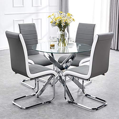 TONVISION Stylish Glass Dining Table and 4 Chairs Set Grey White Side Faux Leather High Back 90 cm Round Clear Tempered Top Chrome Legs Sturdy Home Living Kitchen Space Saving Furniture