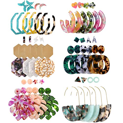 Acrylic Earrings for Women, Funtopia 30 Pairs Trendy Tortoise Shell Earrings, Big Resin Hoop Stud Drop Dangle Statement Earrings Fashion Jewelry for Birthday Party Christmas