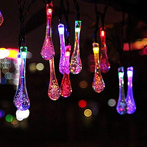 Berocia Solar String Lights Outdoor Garden Waterproof Multicolor Decorative Fairy Lights 30 LED 8 Modes Color Changing 20ft for for Patio Yard Tree Lawn Party Christmas