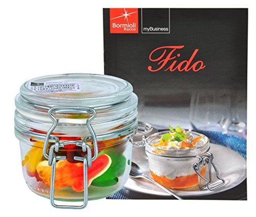 Bormioli Rocco Drahtbügelglas FIDO, 125 ml, Einmachglas mit Bügelverschluss, inkl. Rezeptheft