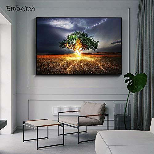 KWzEQ Leinwanddrucke Beleuchteter Abstrakter Baum für Plakate und Bildkunstwerkwandkunstdekor für Wohnzimmer80x105cmRahmenlose Malerei