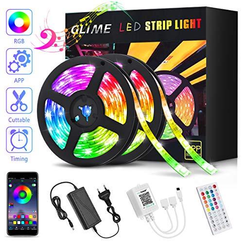 LED Streifen RGB 10M GLIME LED Strip 300 LEDs Bänder via App mit Musik, 44 Tasten Fernbedienung, 16 Farben Dimmbar Selbstklebend LED Stripes Kit für Küche, Party, Bar, Schlafzimmer (2x5M)