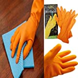 NOHUNT Neoprene Rubber Safety Hand Gloves for Acid and Caustics Chemical, Oil and Solvents (Orange)