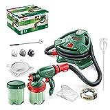 Bosch Home and Garden Pistola pulverizadora Bosch PFS 5000 E (1200 W, 2 depósitos de color de 1000 ml, boquillas para pintura de pared, barnices, barnices transparentes)