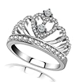 Princess Queen Crown Rings for Women Girl Eternity Heart-Shaped Promise Ring Zircon Jewelry Silver/Rose Gold/Gold Ring Size 5-12 (Platinum, 6)