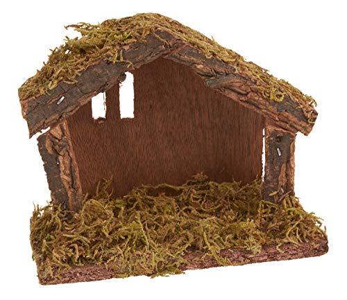 VBS Mini-Krippe aus Holz und Moos 14,5x11x6,5cm Weihnachtshäuschen Bethlehem Weihnachtskrippe Stall selber bauen