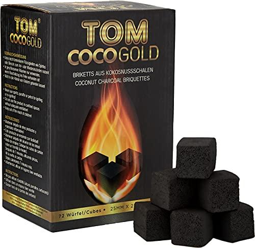 Tom Cococha Wasserpfeifenkohle aus Kokosnussschalen, Würfel 25 x 25 mm, 1 kg, Kohlenstoff, Gold, 20 x 10 x 10 cm