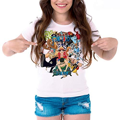 Camiseta Serie Manga y Anime Mujer One Piece (Blanco, S)