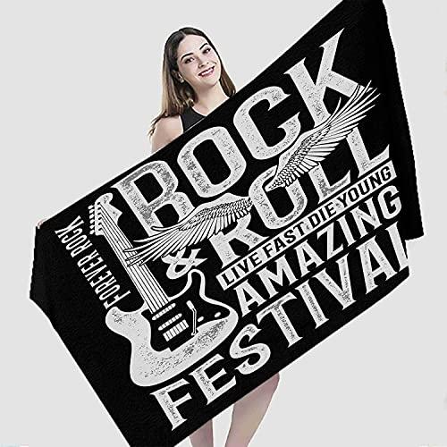 Toalla de playa vintage, guitarra Rock Festival y rollo signo de música vintage, secado rápido, ligero, toalla de viaje de microfibra para camping, deportes, natación, baño.150 x 75 cm