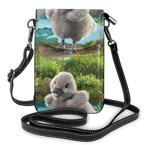 Lawenp Monedero de cuero para teléfono, bolso bandolera pequeño Baby Swan Mini bolso de hombro para teléfono celular para mujer