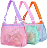 Beach Toy Mesh Bag Kids Shell Collecting Bag Beach Sand Toy Totes for Holding Shells Beach Toys Sand Toys Swimming Accessories for Boys and Girls(Only Bags,A Set of 3 )