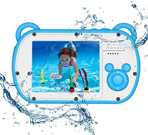 Woodtree Cámara submarina for los niños, cámara de HD 1080P niños a Prueba de Agua, cámara de pre-VCR acción, 8X Zoom de la cámara Digital con Flash y Etiqueta micrófono, Color: Azul (Color : Blue)