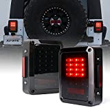 Xprite Bold Series Smoke Lens LED Tail Lights w/Red Brake Rear Light, Turn Signal & Back Up Light for Jeep Wrangler JK JKU 2007-2018