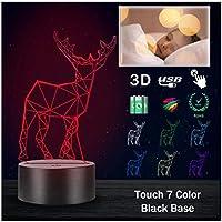 3Dイリュージョンナイトライト 動物の鹿 スマートタッチ 子供のためのランプ3Dナイトライト-スマートタッチとUSBケーブル付き7色ナイトライト恋人クリスマスギフト女性のための十代の女の子の家の装飾