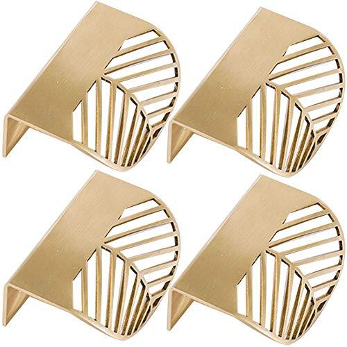 Lankater 4Pcs Gold Cabinet Pulls Furniture Handles Kitchen Door Handle Copper Drawer Pull Knobs