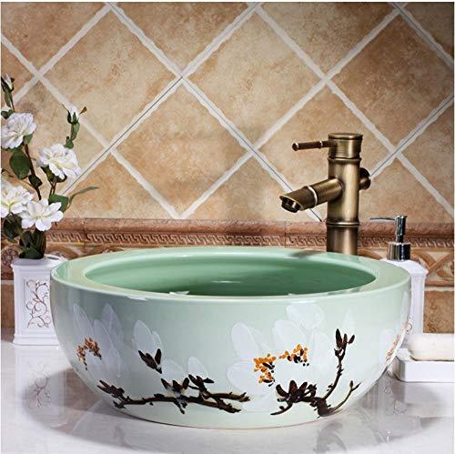 ykxykw Artistic Europe Style opzetwastafel van porselein wastafel van keramiek lavabo groen