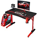 Flamaker Gaming Desk 44 Inch Gaming Table Computer Desk PC Gamer Table T Shape Game Station with Large Carbon Fiber Surface, Cup Holder & Headphone (Red)