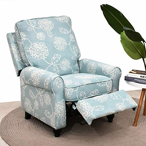 Recliner Chair- Manual Recliner Chair Modern Tufted Fabric Accent Single Small Push Back Ergonomic Recliner Chair Sofa Home Theater Seating for Small Spaces for Living Room (Light Blue)