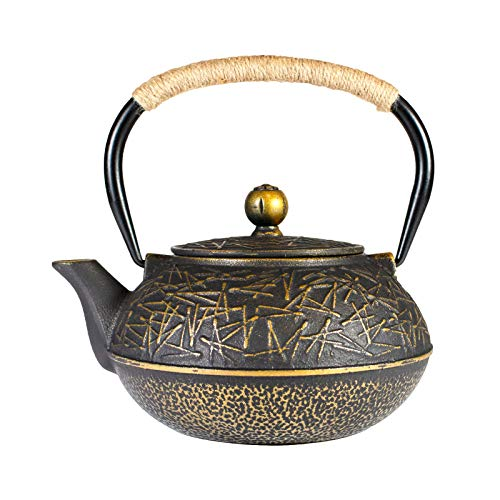 HANHAN Teiera Ghisa Stile Giapponese, Teiera con Infusore in acciaio inox, bollitore ghisa da 800ml/ 0.8 Litro (GOLDEN)