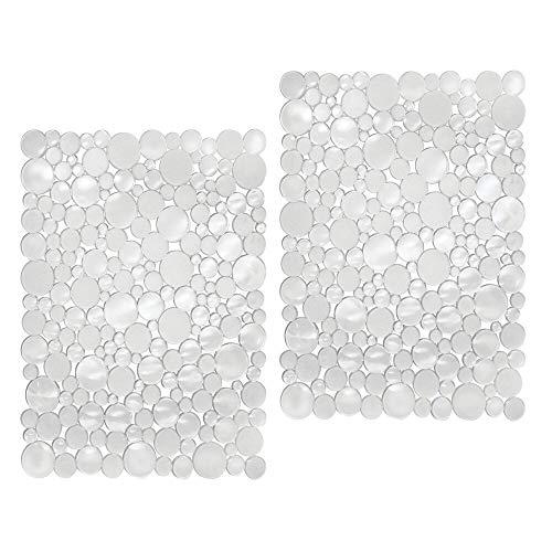 mDesign – Tapete protector de PVC para la pila – Alfombrilla para fregaderos de cocina – Protector fregadero – Color: transparente – Juego de 2 unidades