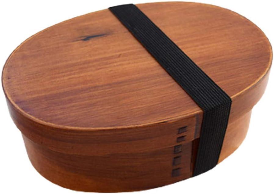 CAREMiLLE Fiambrera de Sushi de Madera Ovalada, Caja Bento portátil, contenedor de Almacenamiento de una Sola Capa, Cajas de Almacenamiento con Tapas, café