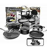 GRANITESTONE 2807 10-Piece Non-Stick Ultra Durable, Mineral & Granite Coated Scratch Proof Cookware Set + 5 Piece...