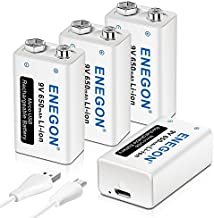 ENEGON 9V Direct USB Rechargeable Lithium-ion 650mAh Batteries with 2 in 1 Micro USB Cable for Wireless Microphone, Smoke Alarms, Electronic Toys, Walkie-Talkie and More Devices (4 Pack)