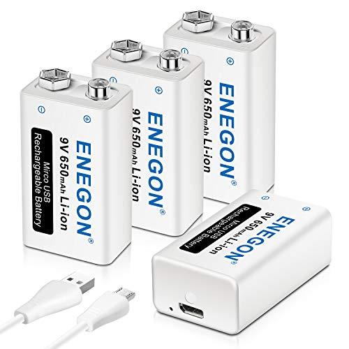 ENEGON 9V USB Directa Recargable Batería 650mAh Lito-Ion con Cable Micro USB 2 en 1 para Micrófonos, Alarma de Humos, Juguetes electrónicos, Walkie Talkie y Más aparatos (4 Baterías)