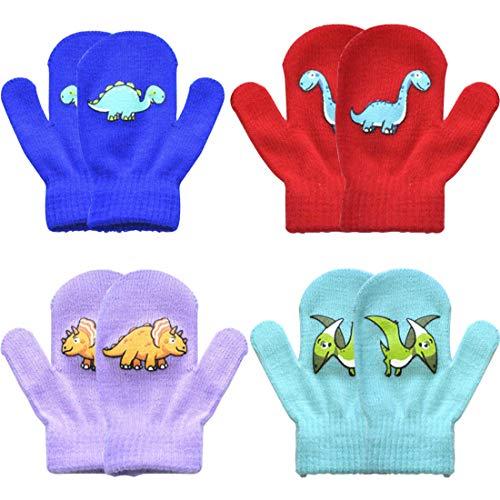 YUESEN Mädchen Handschuhe Handschuhe Strick Niedliche Cartoon-Dinosaurier Weich Innenfutter Thermo Handwärmer Strickhandschuhe für Kinder Outdoor-Sport Snowboarden 4 pcs