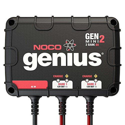NOCO Genius GENM2, 2-Bank, 8-Amp (4-Amp Per Bank) Fully-Automatic Smart Marine Charger, 12V Onboard Battery Charger And Battery Maintainer