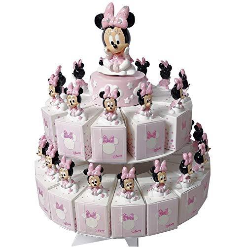 CARTOON WORLD BOMBONIERA Torta con 29 Scatoline Portaconfetti Piu Statuine e Carillon Disney Minnie