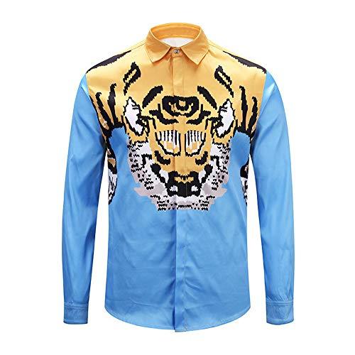 New Personality Shirt Creative Tiger Head Print - Camiseta de manga larga para hombre